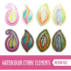 Watercolors Ethnic elements