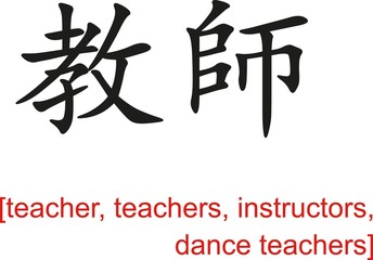 Chinese Sign for teacher, teachers, instructors, dance teachers