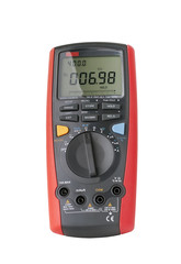 Red digital multimeter isolated