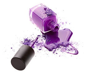 Purple nail polish with eye shadow