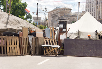 Barricade across a town street for a fair or race