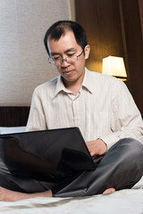 Working businessman in hotel