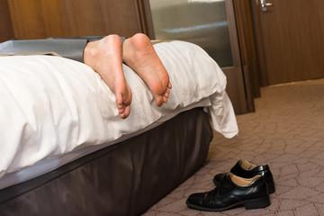 Tired businessman sleep