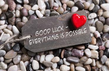 Viel Glück - Glückwunschkarte mit Herz in Rot