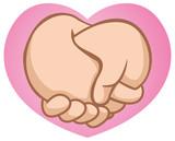 Caricature hugging boyfriends hand