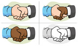 Caricature hugging interracial hand