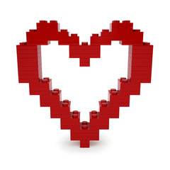 Red valentine heart made of Blocks