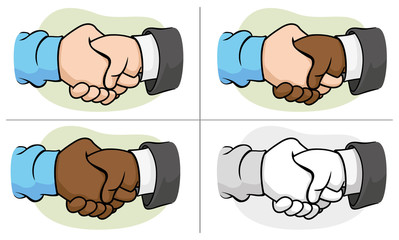 Caricature hugging interracial hand