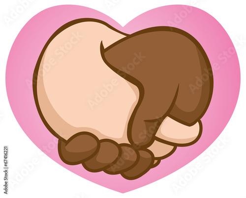 Caricature Handshake valentine interracial