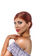 Beautiful redhead woman with professional make up and hairstyle