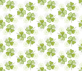 Seamless decorative floral pattern with clover