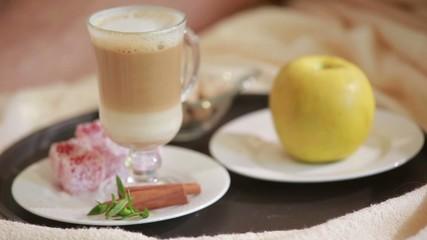 Layered rhubarb and quark dessert