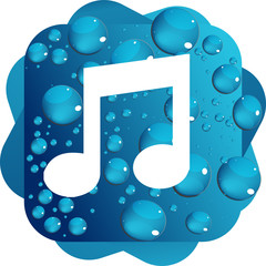 Water drops on blue background music icon