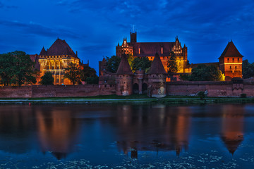 HDR image of medieval castle in Malbork at night