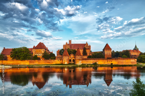 HDR image of medieval castle in Malbork with reflection