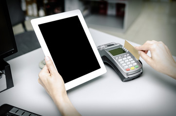 Bank terminal and tablet pc