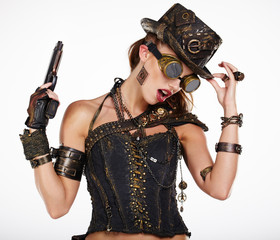 Steampunk isolated woman. Fantasy fashion for cover.