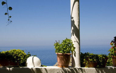 flowered balcony on the Aegean Sea, Corfu, Greece