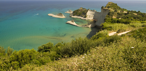 view over the coast of Corfu, Greece