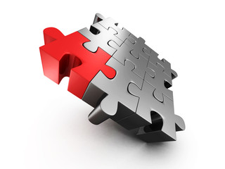 red different individual jigsaw puzzle
