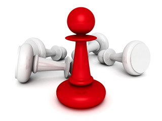 leadership concept red pawn forward