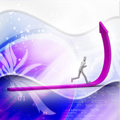 3d person running up rising arrow