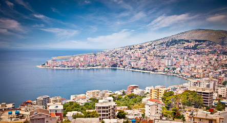 Panoramic view on Sarande city, Albania.