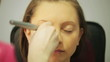 Makeup - dusting face closeup