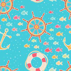 cute seamless marine background - 2