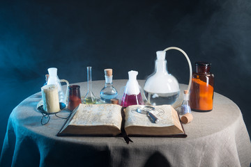 items for chemical laboratory on the table
