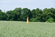 farmer woman in yellow dress walk wheat field