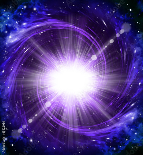 Foto op Canvas Violet beautiful space background with rays and stars