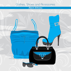 Clothes, shoes and accessories. Stylish collection. Banner
