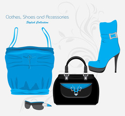 Clothes, shoes and accessories. Stylish collection