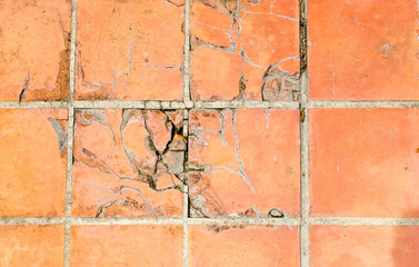 crack tiles square clay orange floor