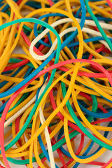 Colorful rubber bands close-up