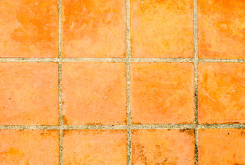 aged tiles square clay orange floor