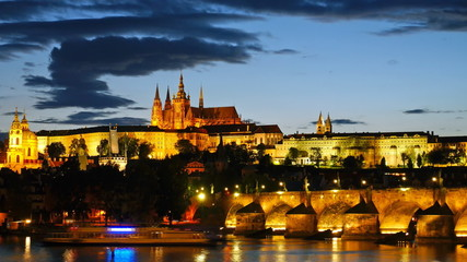 Prague Castle after sunset. Czech republic. Timelapse