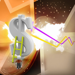 3d man climbing ladder toward financial symbol