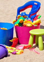 Children's toys in the sandbox