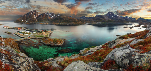 Norway village with mountain, panorama - 67423847