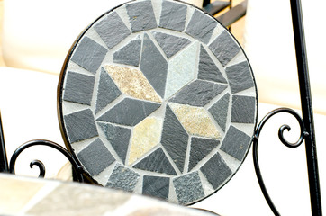Garden mosaic stone chair