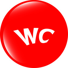 wc icon, web button isolated on white