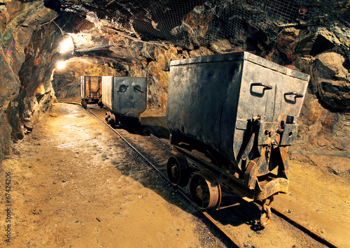 Underground mine tunnel, mining industry - 67424206