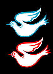 White dove, art vector picture.