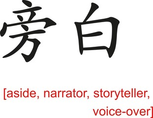 Chinese Sign for aside, narrator, storyteller, voice-over