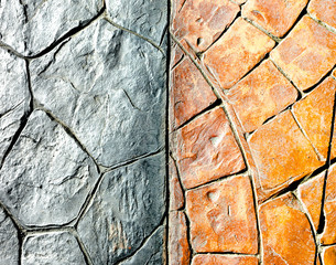 orange and grey stone block pavement texture