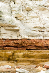 Red and white sandstone and chalk cliffs at Hunstanton,Norfolk,E