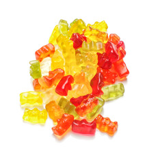A pile of gummy bears isolated