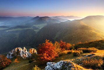 Beautiful sunrise in mountain valley  - Slovakia